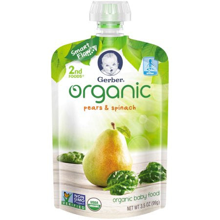 Gerber 2nd Foods Organic Fruit & Veggies Pear Spinach Baby Food, 3.5 oz