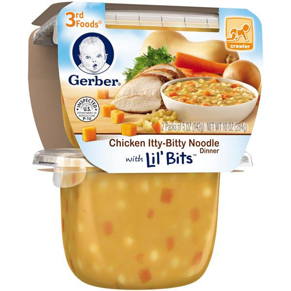 Gerber 3rd Foods Chicken Itty-Bitty Noodle Dinner with Lil' Bits Baby Food, 5 oz, 2 count