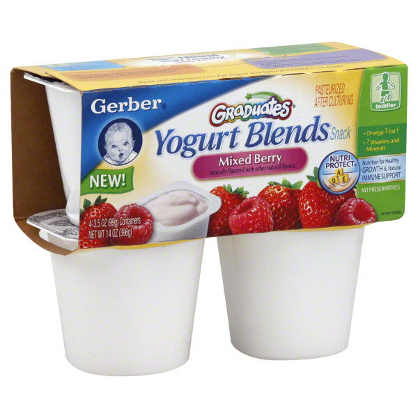Gerber Graduates Yogurt & Fruit Blends Mixed Berry Yogurt, 3.5 oz, 4 ct