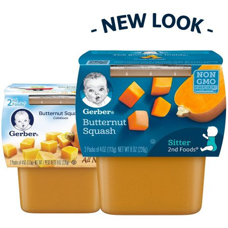 Gerber 2nd Foods Butternut Squash Baby Food, 4 oz, 2 ct