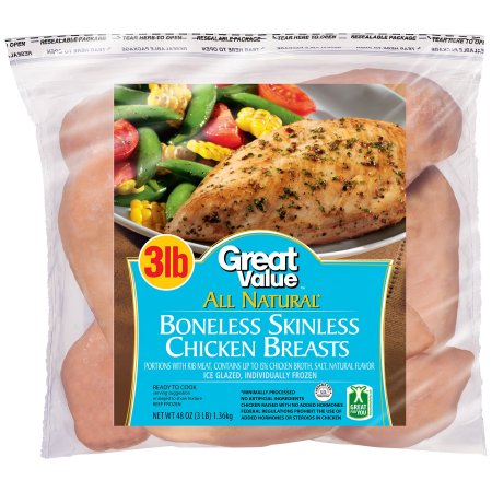 Great Value All Natural Boneless Skinless Chicken Breasts, 3 lbs.