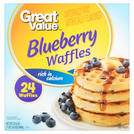 Great Value Blueberry Waffles, 24 count, 29.6 oz