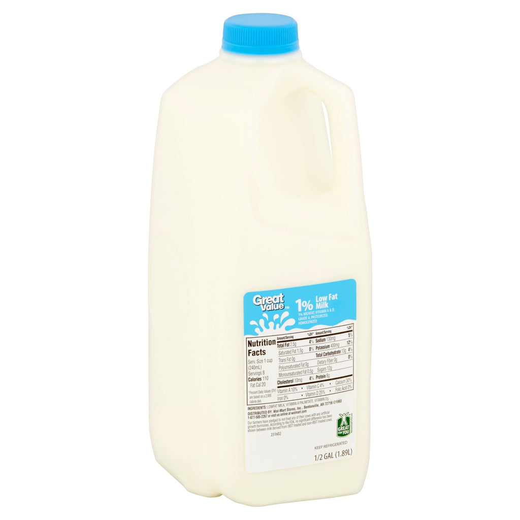 Great Value Low Fat 1% Milk, 0.5 gal