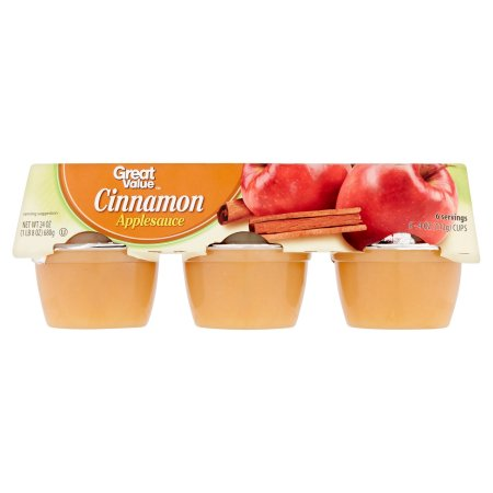 Great Value Cinnamon  Apple Sauce, 6-4 oz Cups 24 oz