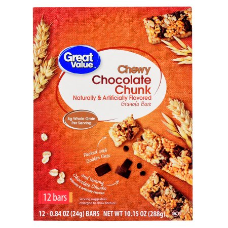 Great Value Chewy Granola Bars, Chocolate Chunk, 12 Count