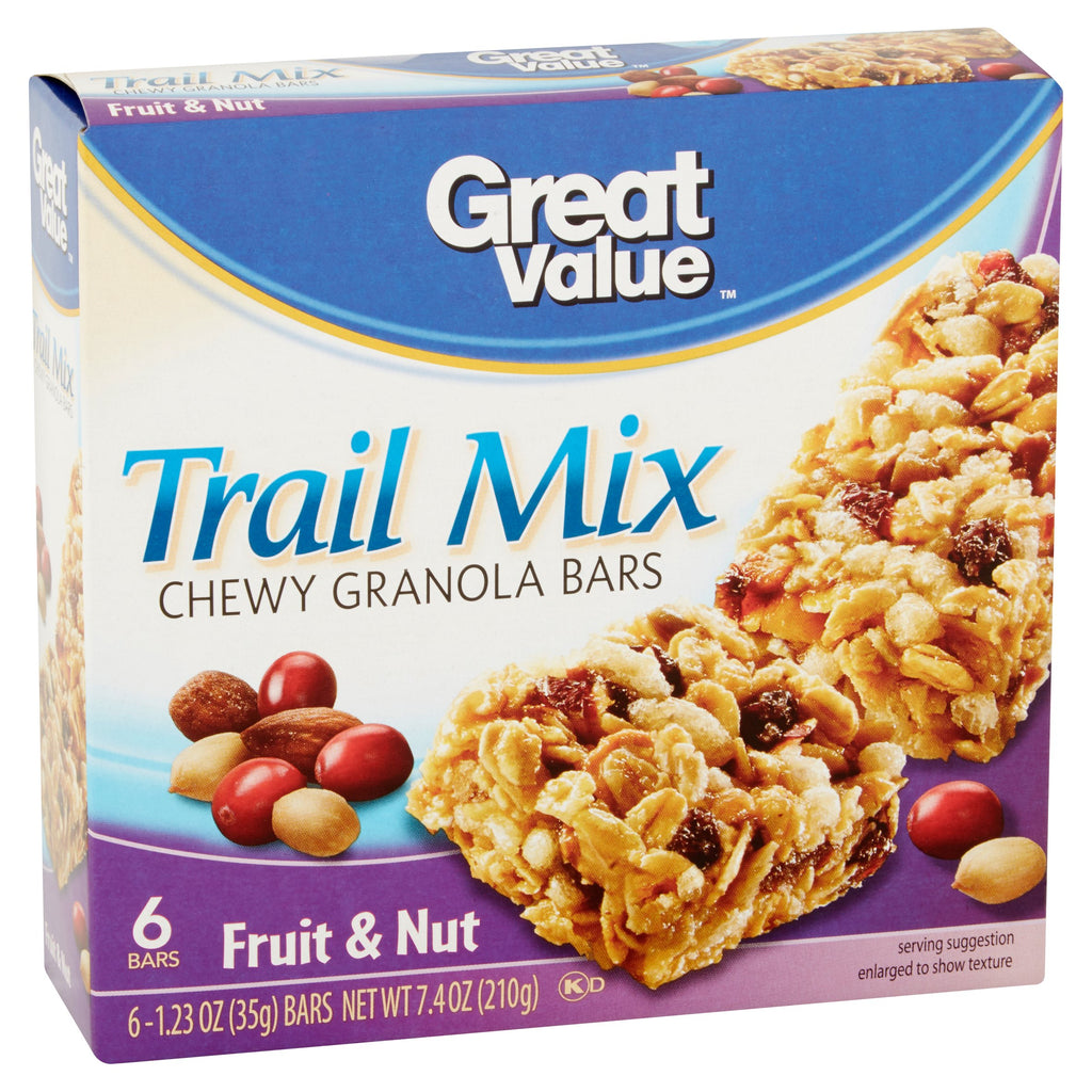 Great Value Fruit & Nut Trail Mix Chewy Granola Bars, 1.23 oz, 6 pack