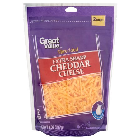 Great Value Shredded Extra Sharp Cheddar Cheese, 8 oz