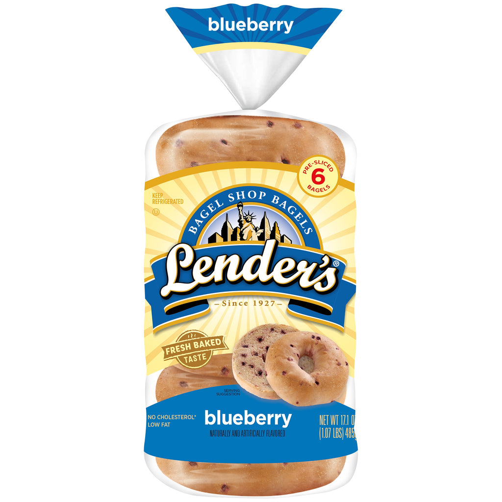 Lender's Bagel Shop Bagels Blueberry Bagels, 6 ct, 17.1 oz