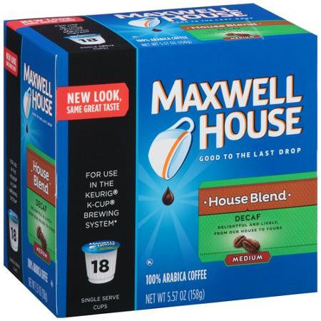 Maxwell House Cafe Collection Decaf House Blend 100% Arabica Coffee K-Cups, 18 count