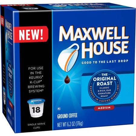 Maxwell House Original Roast Coffee Single Serve Cups, 18 count, 6.2 oz