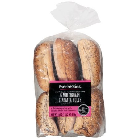 Marketside Multigrain Ciabatta Rolls, 6 ct, 18 oz