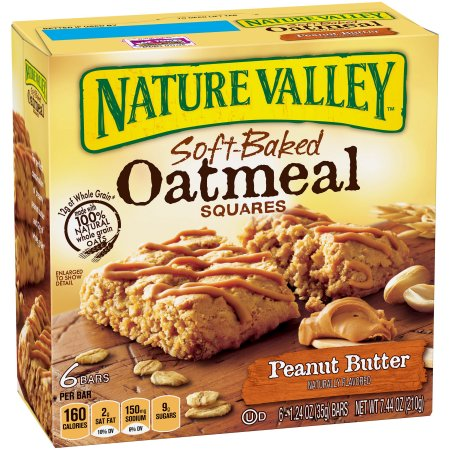 Nature Valley Soft Baked Oatmeal Squares Peanut Butter 6 - 1.24 oz Bars