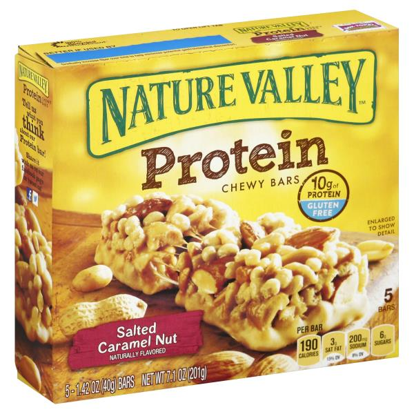 Nature Valley™ Protein Chewy Bar Gluten Free Salted Caramel Nut 5 - 1.42 oz Bars