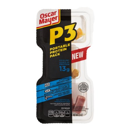 P3 Portable Protein Pack Applewood Smoked Ham, Marbled Colby & Monterey Jack Cheese, Cashew Halves and Pieces, 2.0 OZ