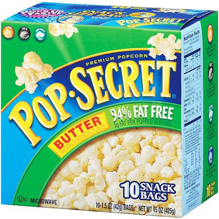 Pop Secret Butter 94% Fat Free Premium Popcorn, 10ct