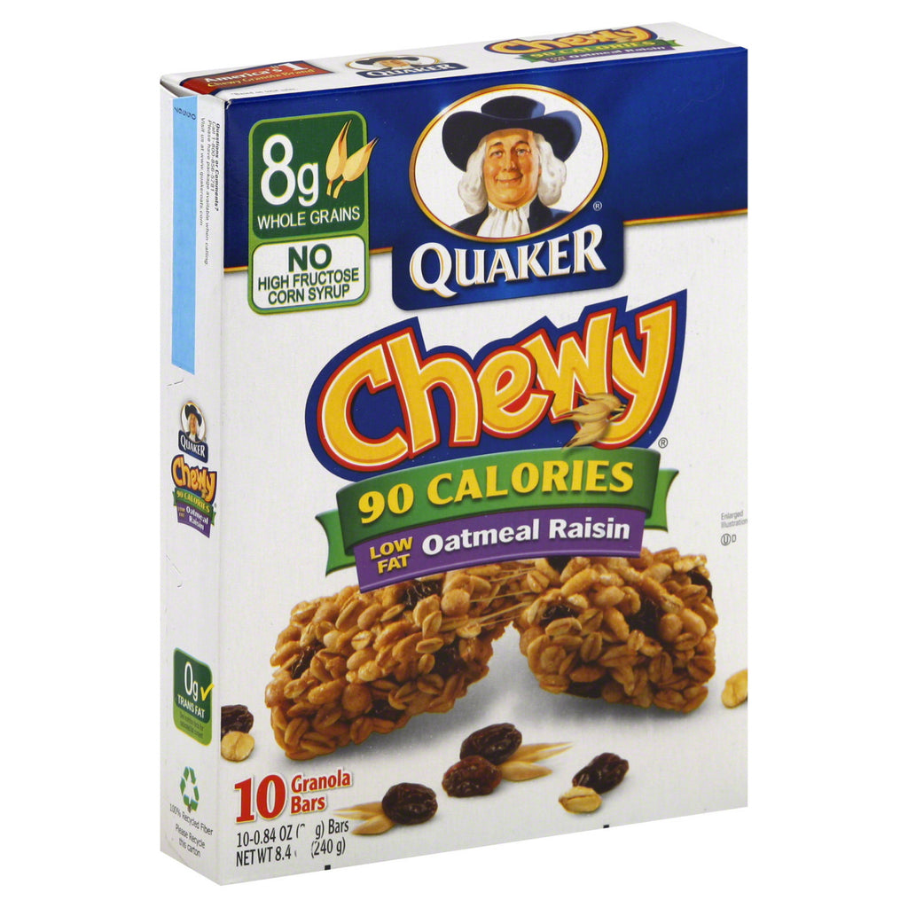 Quaker Chewy Granola Bars, 90 Calories Oatmeal Raisin 10 ct