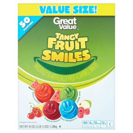 Great Value Fruit Smiles, Tangy, 50 count, 45 oz