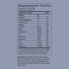 blue beauty adaptogenic protein supplement label