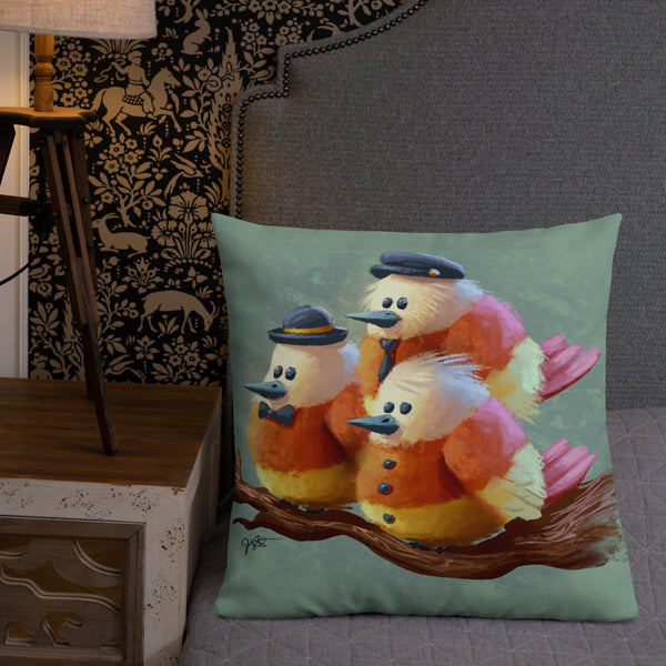 Candy Corn Birds Pillow