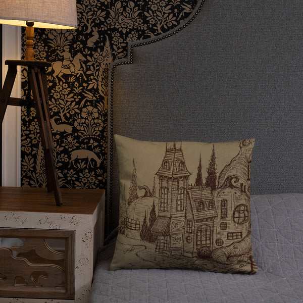 Pumpkinville Square Pillow Taupe