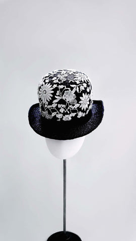 Embroidered Flower Bowler Hat