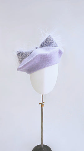 Beret hat with fluffy kitty ears.