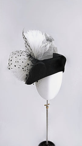 Wool felt beret hat with layered black and white tulle bow .Black