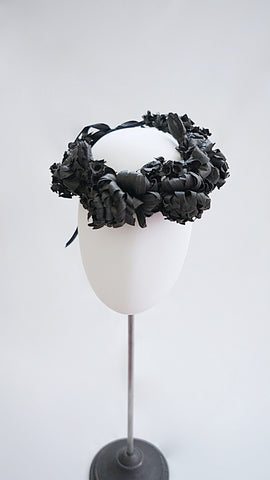 SIWA washi paper flower crown /Black