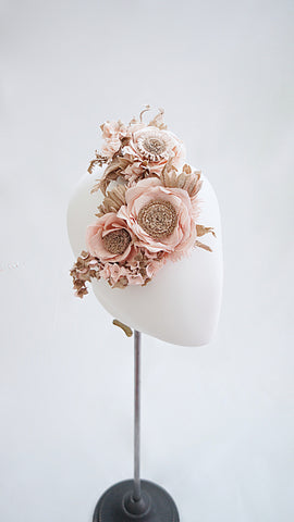 SIWA washi paper flower headpiece / Pink