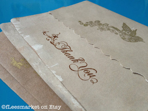 Antique Stained Steampunk Bridal Thank You Cards (Set of 2)