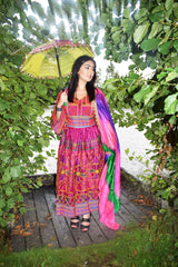 Purple Afghan Embroidery Dress