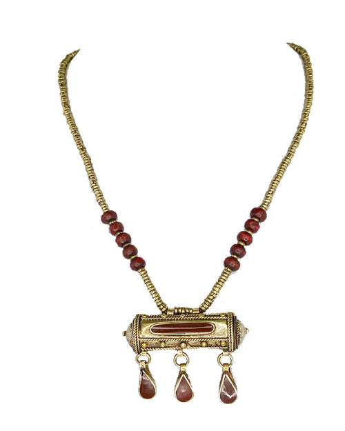 Afghan Pendant Necklace Brown Stone