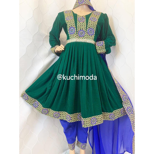 Green Blue Velvet Chargul Dress