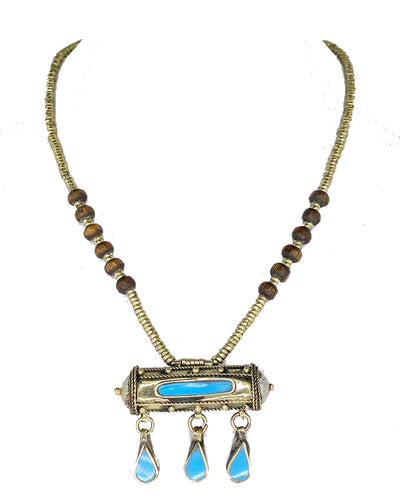 Afghan Pendant Necklace Blue Stone