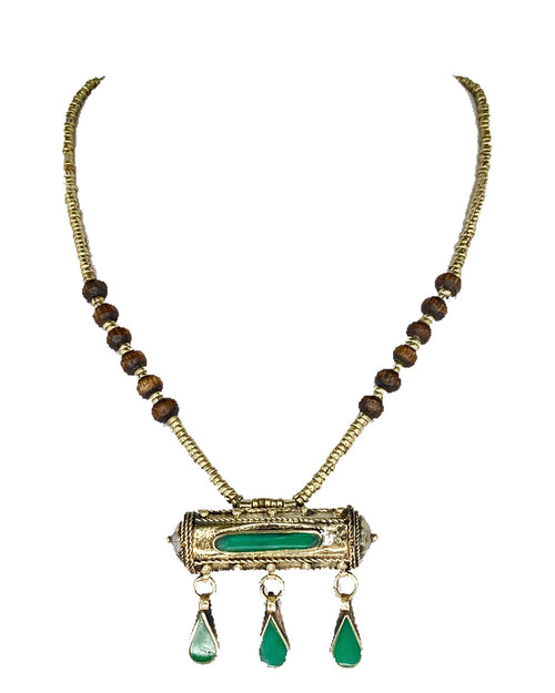 Afghan Pendant Necklace Green Stone