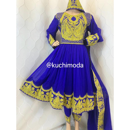 Blue Chirma Dozi Afghan Dress