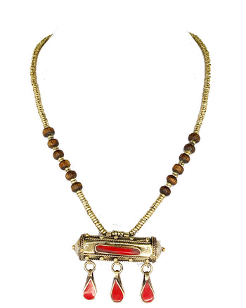 Afghan Pendant Necklace Red Stone