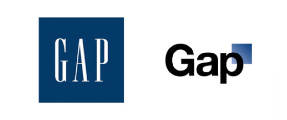 The new and old Gap logos