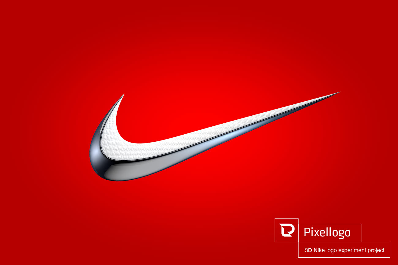 White and Silver 3D Nike Logo