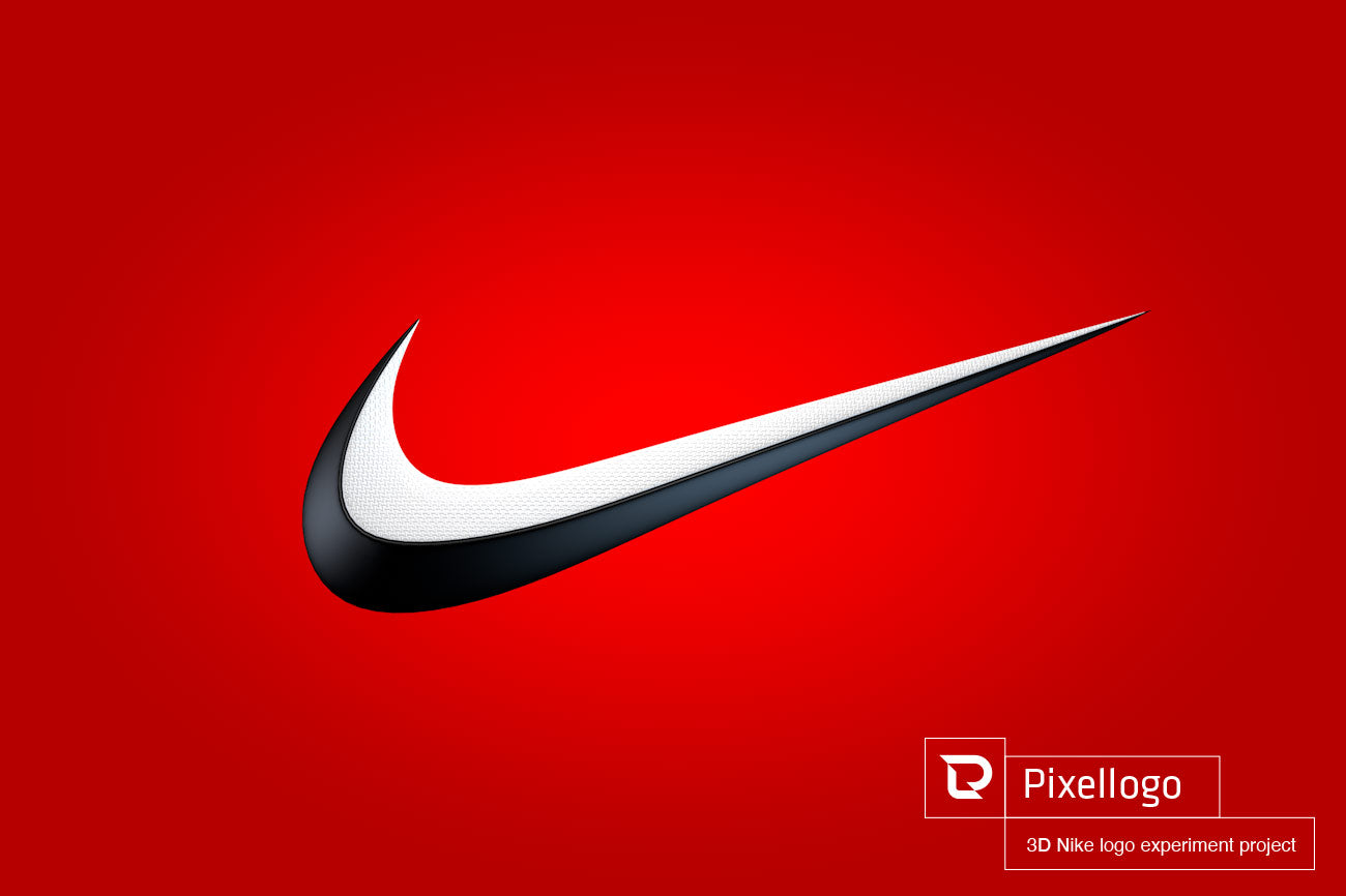 White and Black Rubber 3D Nike Logo