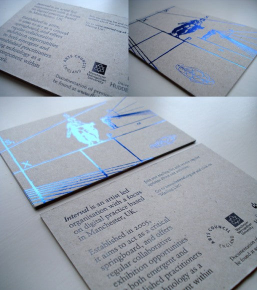 blue foil added to business card design