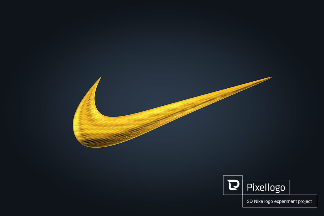 3D gold Nike Logo with texture by Pixellogo