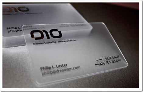 hard plastic business cards design