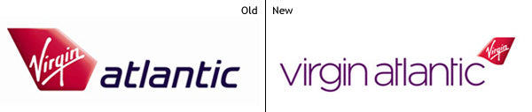 The old and new logos of Virgin Atlantic