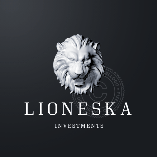 3D Lion Head Logo Sculpture - White Marble Lion Head | Pixellogo