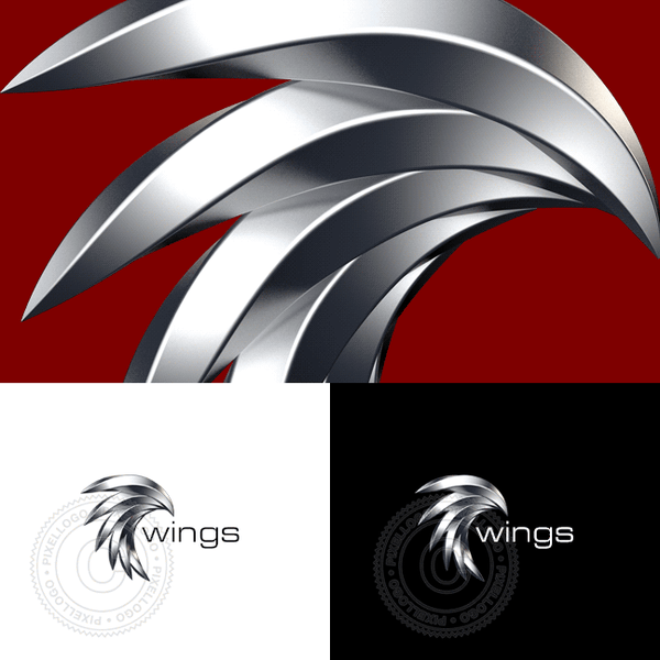 Steel 3D Eagle Logo - Metal Feathers Egale Head | Pixellogo