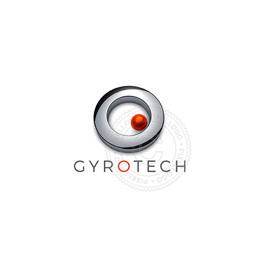 Gyroscope Technology Logo - red ball in Metal Ring | Pixellogo