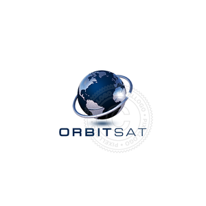 Satellite Orbit Logo - blue globe with ring around | Pixellogo