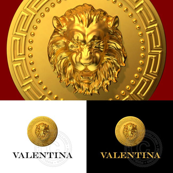 3D Gold Lion Head Logo in medal | Pixellogo