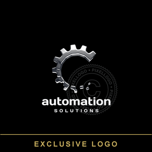 3D Automation logo - metal 3D Gear Rotating | Pixellogo